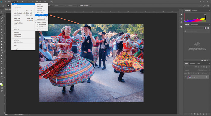 A photo of traditional dancers opened for editing in Photoshop