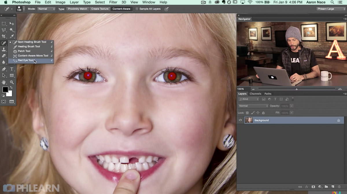 photoshop steps remove red eye