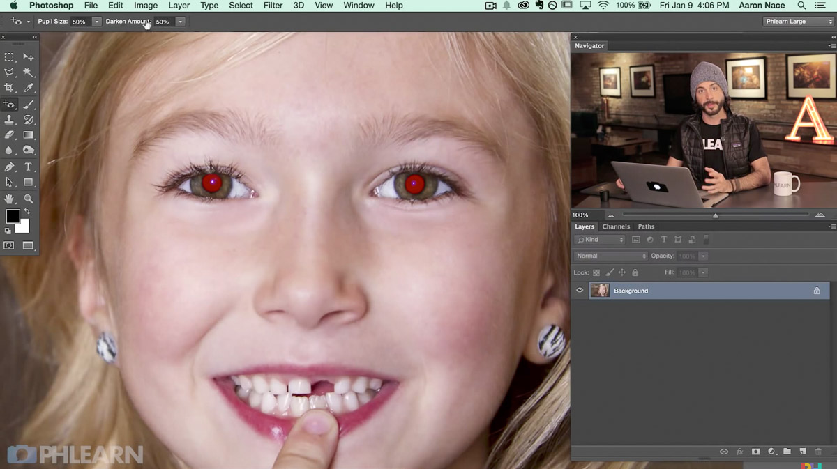 remove red eye tutorial