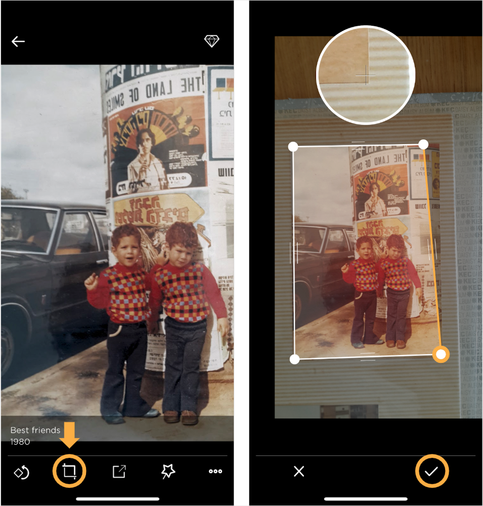 Left: tap the crop icon to edit its cropping. Right: manually adjusting crop boundaries. Drag the boundary lines with your finger to adjust the cropping edges.